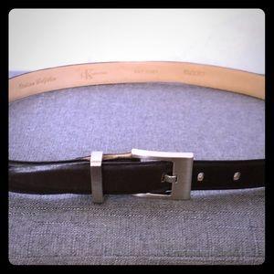 Calvin Klein Italian leather belt in dark brown